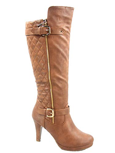 FZ-Win-6 Women's Fashion Quilted Buckle Low Heel Zipper Knee High Boots Shoes (7.5 B(M) US, ()