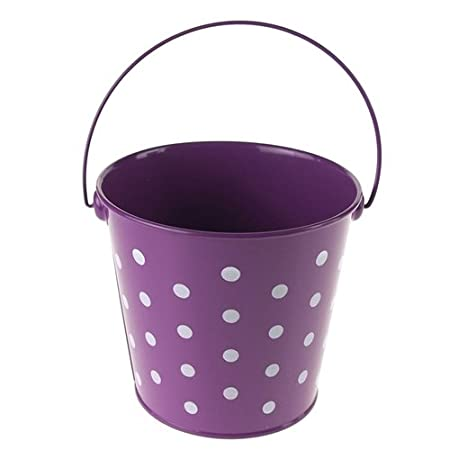 Hot Pink, 5-Inch Homeford Firefly Imports Polka Dot Metal Pail Buckets Party Favor