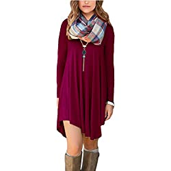 POSESHE Women's Irregular Hem Long Sleeve Casual T-Shirt Flowy Short Dress Wine Red S