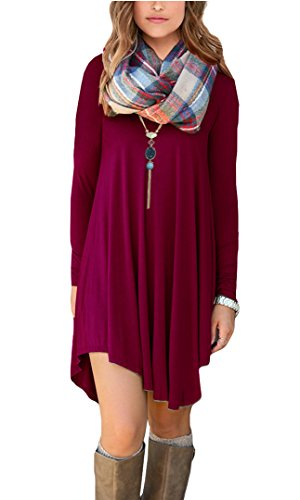 POSESHE-Womens-Irregular-Hem-Long-Sleeve-Casual-T-Shirt-Flowy-Short-Dress-Wine-Red-L
