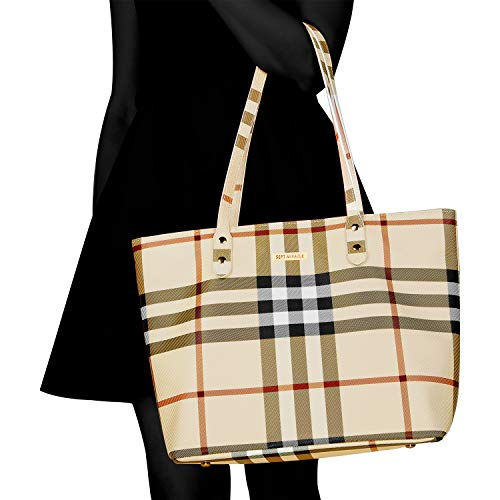 84684bf5f21c SEPT MIRACLE PU Leather Womens Portable Handbags Tote Bag Shoulder Bag  Purse (Khaki with zipper plus)