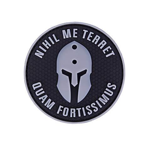 (Morton Home Nihil ME Terret PVC Patch 3D Rubber Patches Spartan Army Military Hook Back Morale Patches Tactical Emblem Applique Combat Badge (Gray))