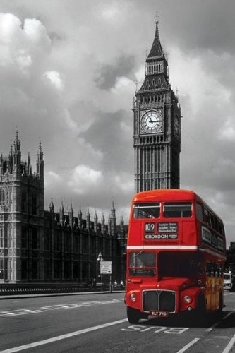 Pyramid america london red bus big ben photography poster print 24 by