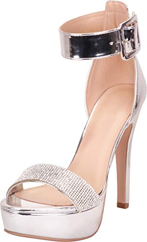 Cambridge Select Women's Open Toe Ankle Strap Crystal Rhinestone Chunky Platform High Heel Dress Sandal,8 B(M) US,Silver Patent PU