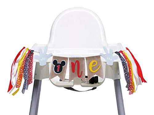 Mickey Mouse 1st Birthday Banner Handmade First Highchair Photo Props Party