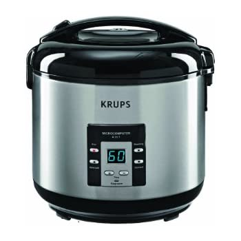 KRUPS RK7011 4-in-1 Rice Cooker and Steamer with Slow Cooking function and Stainless Steel Housing, 10-cup, Silver