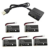 Fytoo 5PCS 3.7V 300mAh Lithium Battery with 5-in-1 Charger for JJRC H36 Eachine