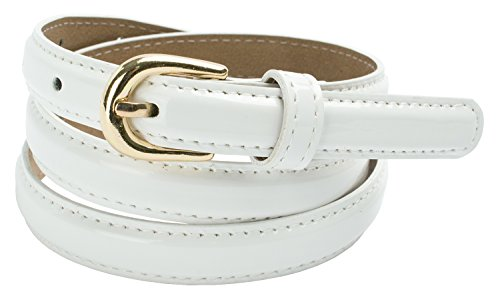 (Womens Faux Leather Skinny Dress Belt with Round Buckle (XL(39.5