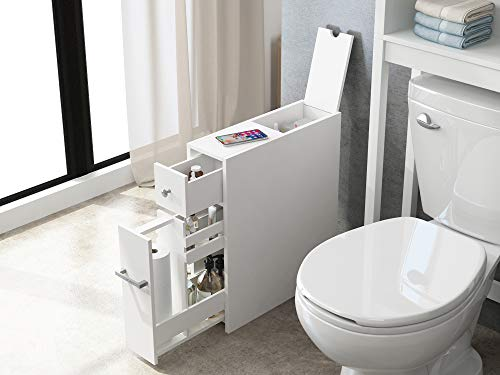 Spirich Home Slim Bathroom Storage Cabinet Free Standing Toilet Paper Holder Bathroom Cabinet Slide Out Drawer StorageWhite