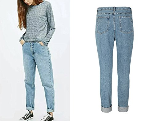 Gamba Larga Denim Alta A Stile Pantaloni Vita Fidanzato Jeans Donna Blu pqx6aPn