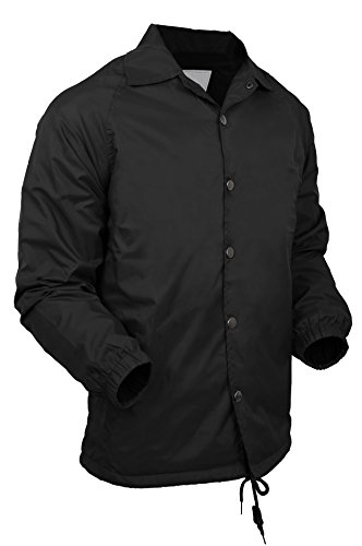 Baseball Snap (VW Mens Coaches Jackets Waterproof Windbreaker Coat Active Sportswear 1VWA6001 (3X-Large, Black))