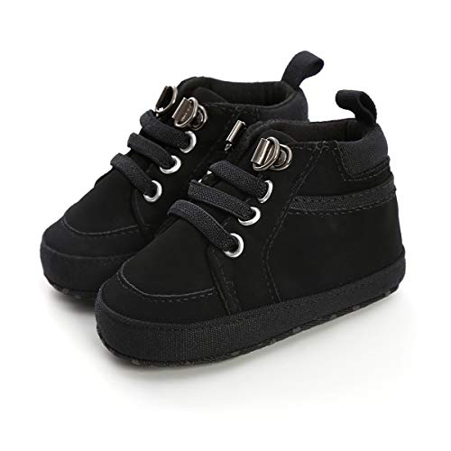BENHERO Baby Boys Girls Oxford Shoes Soft Sole PU Leather Moccasins Infant Toddler First Walkers Crib Dress Shoes Sneaker (6-12 Months Infant, H/Black)