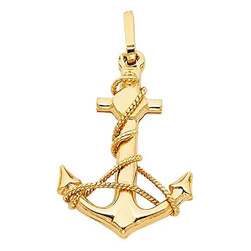 14K Yellow Gold Sailor Nautical Pendant - Jesus Cross Anchor Charm Pendant - Matches with All Types of Chains - 14k Stamped Real Gold -Suitable for Men & Women - Great Gift for All Occasions, 23x18 mm