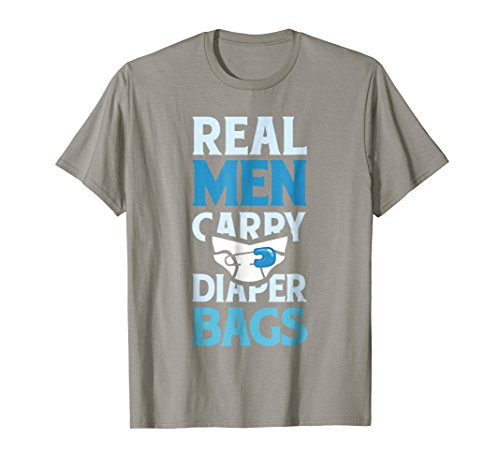 Mens Real Men Carry Diaper Bags New Daddy T-Shirt XL Slate by New Dad Tee Shirt Co
