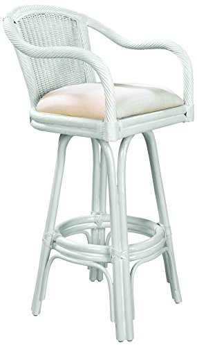 Hospitality Rattan 102-6101-W/W-C Key West Indoor Swivel Rattan & Wicker Counter Stool in Whitewash Finish with Cushion, 24