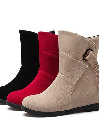 XZZ/ Damen-Stiefel-Kleid-Kunstleder-Keilabsatz-Modische Stiefel-Schwarz / Rot / Beige red-us9 / eu40 / uk7 / cn41