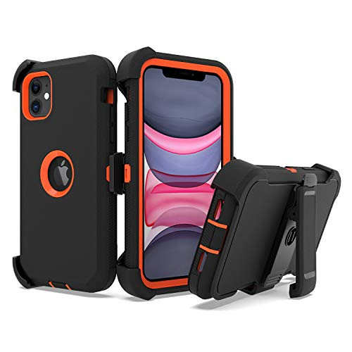 UNC Pro 3 in 1 Belt Clip Holster Cell Phone Case Compatible with iPhone 11 6.1 inch, Heavy Duty Hybrid Shockproof Bumper…
