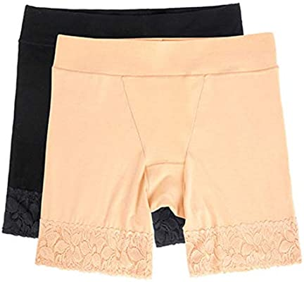 ZFMLXFMM Fajas para piernas,Shorts de algodón Anti Rozaduras para Mujeres, Calzoncillos de Pierna Larga para Damas, Calzoncillos Tipo Boxer Suaves Ropa Interior 2 Paquetes @ One_Black_and_One_Nude_L: Amazon.es: Hogar
