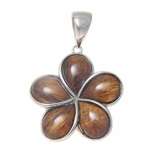 Koa Plumeria Pendant (Genuine inlay Hawaiian koa wood plumeria flower pendant 925 sterling silver 25mm)