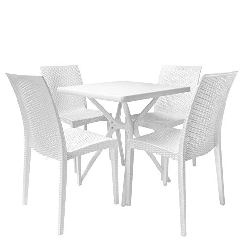 Rimdoc Garden Dining Set Patio Table with 4 Chairs White Outdoor Furniture Waterproof Mid Century Country Wicker Rattan Style Plastic Set for Lawn Balcony Porch Backyard Poolside Bistro Cafe Bar (White Chairs Rattan Outdoor)