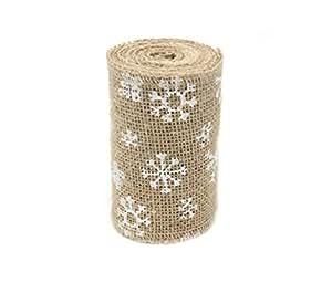 Junxia Navidad nieve arpillera cinta 3M cinta de Hesse 10cm para artesanias de bricolaje hogar boda fiesta de Navidad decoración (10 cm)
