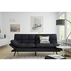 Material Type: wooden frame with durable metal legs Contemporary design upholstered in soft,fabric Split seat and back Memory foam provides good support Converts from sofa to sleeper in seconds and Foldable winged armrest Sturdy wood frame an...