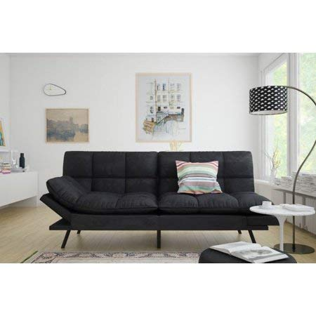 Mainstay.. Memory Foam Futon, Black Suede, Fabric, Wood, Metal + Free Clean Fabric Cloth (Black Suede) (Online Sofa Set)