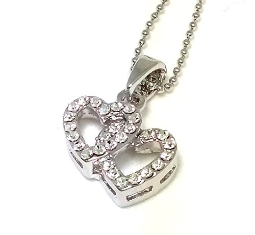 NF-HEART-003 - Double Heart Shaped, Double Heart Pendant Necklace, Rhinestone Pendant Necklace 16