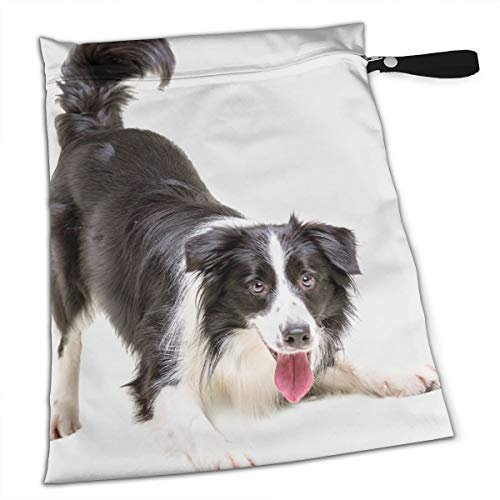 FSXDOG Border Collie Puppy Stylish Waterproof Wet Dry Bags Zipper Diaper Pail Bag for Reusable Diapers Or Laundry ()