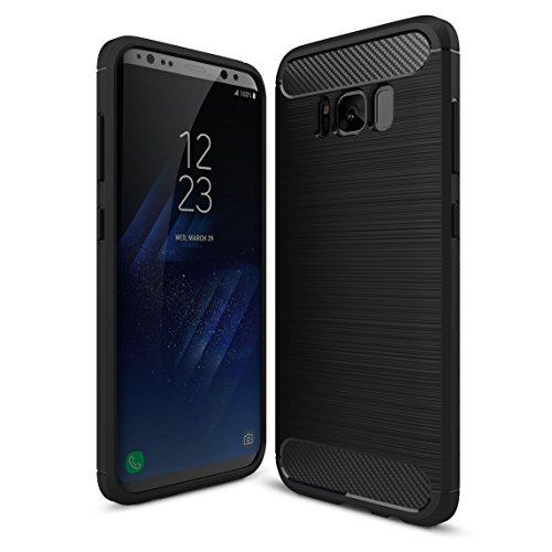 Samsung Galaxy S8+/S8 Plus Case,Yocco Soft Silicon Luxury Brushed Case with Texture Carbon Fiber Design Protection Cover for Samsung Galaxy S8+/S8 Plus Smartphone Black