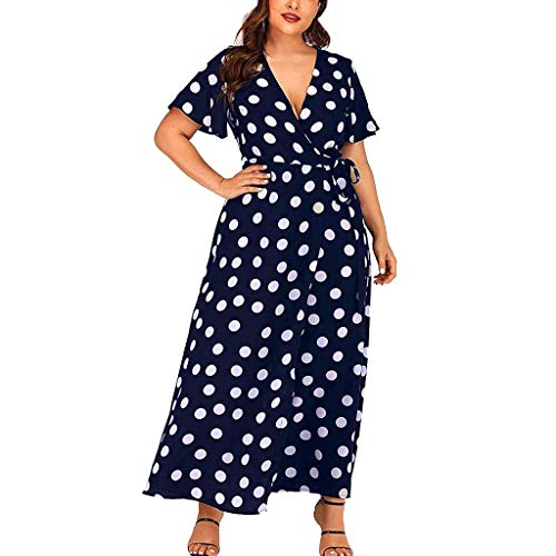 Tantisy ♣↭♣ Plus Size Short Sleeves Wrap V Neck Belted Empire Waist Asymmetrical High Low Bohemian Party Maxi Dress Navy -