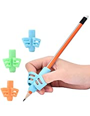 Pencil Grips, Geli 3 Pack Writing Pencil Holder Practise Pen Aid Grip Posture Correction Device Writing Tools for Kids, Adults, Arthritis Designed