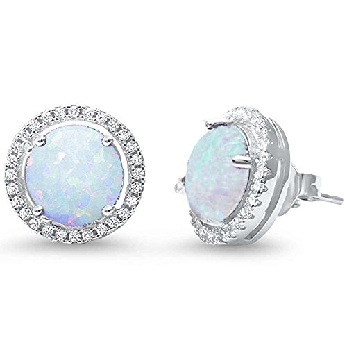 Brightt Halo Lab Created White Opal .925 Sterling Silver Earrings