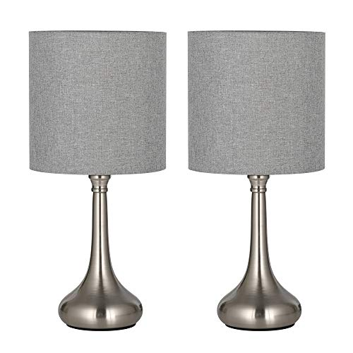 HAITRAL Modern Table Lamps Set of 2 - Simple Bedside Desk Lamps with Fabric Shade, Elegant Nightstand Lamps for Bedroom, Office College Dorm, Ideal Gift - Grey (HT-TH111-15X2) (Clearance Bedroom Set)