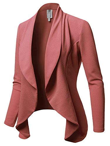 Solid Formal Office Style Open Front Blazer - Made in USA Dusty Rose L ()