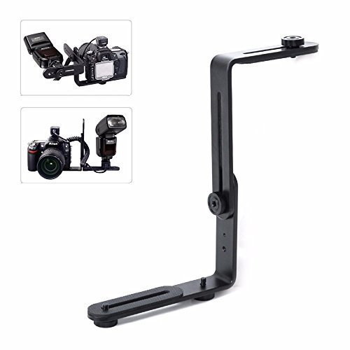 EXMAX Metal Aluminum Alloy L-Shape Camera Flash Bracket Flashlight Camera Holder Mount Quick Flip DSLR SLR ()