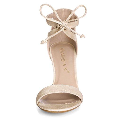 Stiletto Tacco Cravatta K Lati US 9 Caviglia Beige Sandali Esclusione Donne Allegra wXxUf1qIH