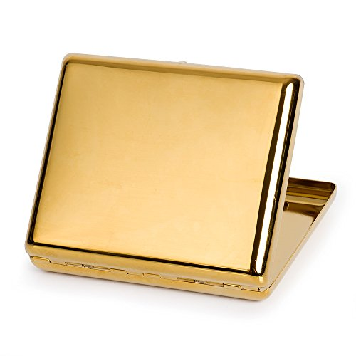 Pure Copper Metal Cigarette Case Holder Box Cardcase Holds 20 cigarettes for 100's Cigarettes (Gold) by Team Pistol