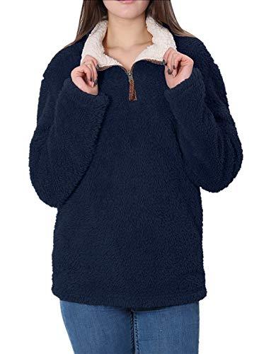 (Fleece Sherpa Pullover Womens Sweatshirt Long Sleeve Soft Fuzzy Outwear Sweater Jacket 1/4 Zip Hoodie Coat with Pockets (Navy Blue, XX-Large))