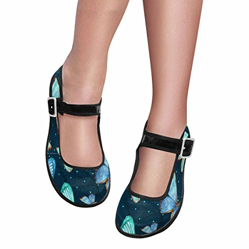 Interestprint Mujeres Comfort Mary Jane Flats Zapatos Casual Para Caminar Multi 12