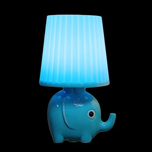 YJY Light Sensor Night Light Lovely Elephant - Intelligent Control LED Wall Lamp Plug in for Baby Child Nursery - Blue - Elephant Infant Lamp
