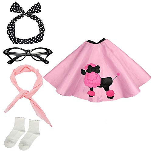 50s Womens Costume Accessory Set - Poodle Skirt, Bandana Tie Headband,Chiffon Scarf, Cat Eye Glasses,Bobby Socks,Pink -