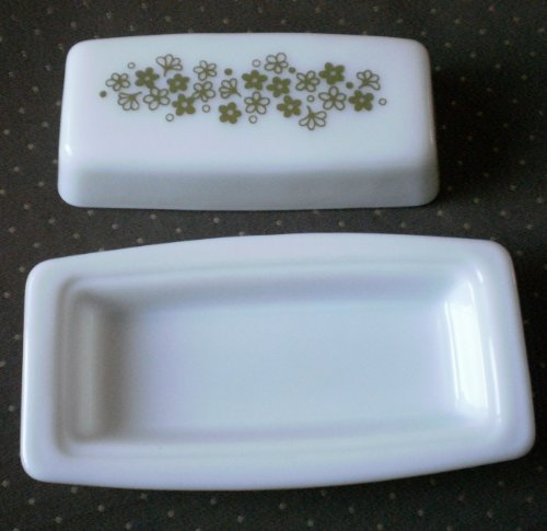 - Vintage Pyrex Milk Glass Covered Butter Dish Green Daisy Patten
