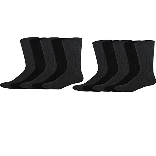 Dockers Men's 10 Pack Cushion Comfort Sport Crew Socks, Black/Charcoal, Sock Size:10-13/Shoe Size: 6-12