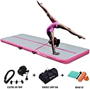 AKSPORT 10ft 13ft 16ft 20ft Air Track Tumbling Mat for Gymnastics Inflatable Airtrack Floor Mats with Electric