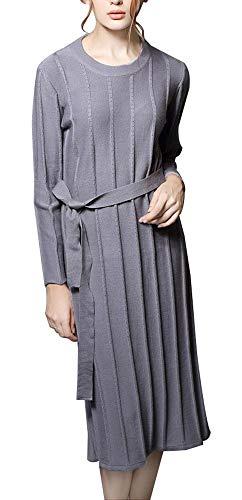 Maglione Vestito Lungo Maglia Slim Abito Unita Scollo Lavorato Dress Con Sodhue Cintura Grigio Sweater Lunga In Manica Pullover Jumper Fit A Tinta Tondo tgYcqw4