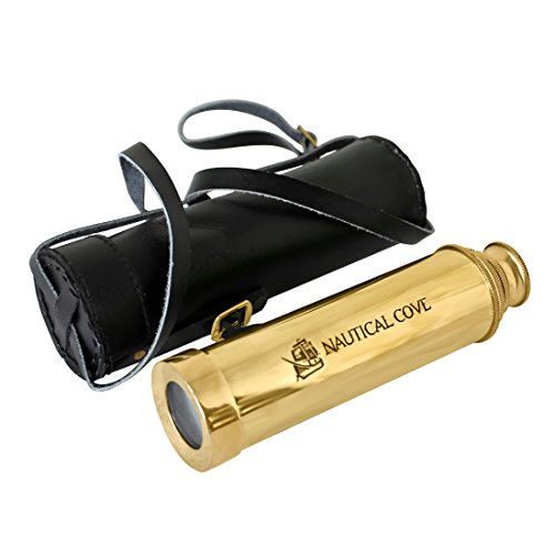 "Nautical Cove 15"" Pirate Telescope Handheld Brass with Wooden Box For Kids, Props, and Costumes"