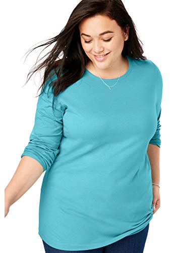 Woman Within Women's Plus Size Perfect Crewneck Long Sleeve Tee - Soft Turquoise, 1X