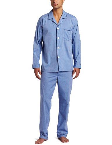 Solid Mens Pajamas - Majestic International Men's Solid Basics Long Sleeve Pajama, Blue, Large