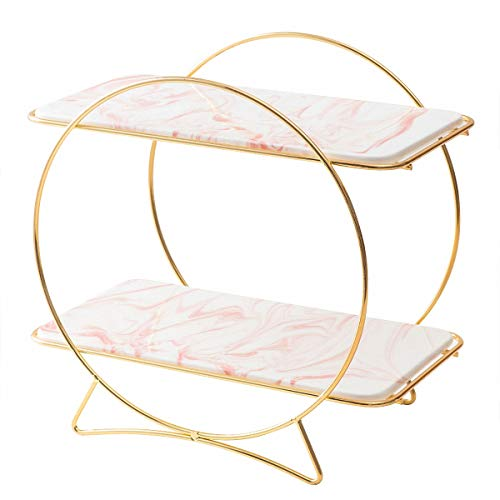 ALPS Marble plates round Cake Stand Cosmetic Storage Makeup Organizer Multi-Function Acrylic Cosmetic rack (pink)